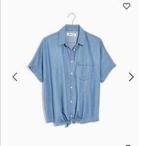 NWOT, Small Madewell Denim Short Sleeve, Tie Front